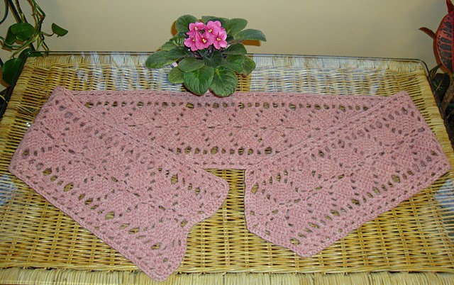 One Skein Falling Leaves Pull-Through Lace Scarf Knitting Pattern
